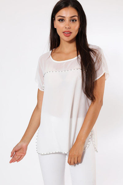 Silver Beads Trim White Chiffon Top-SinglePrice