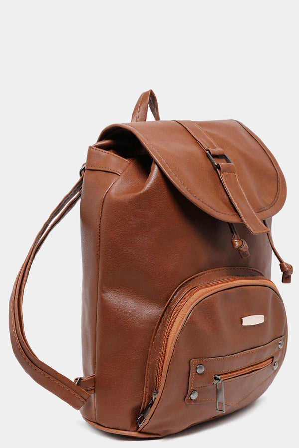 Brown Front Pocket Drawstring Vegan Leather Backpack-SinglePrice