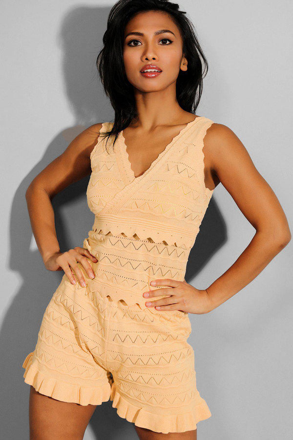 Beige Perforated Knit Sleeveless Top And Shorts Set - SinglePrice