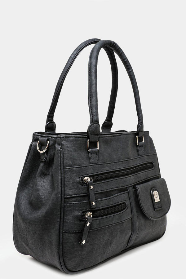 Black Triple Compartment Multipocket Handbag-SinglePrice