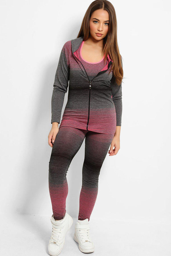Pink Colour Stripes Super Stretch 3 Piece Hooded Set