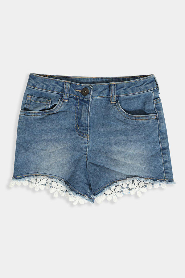 White Crochet Lace Hem Blue Girl's Shorts - SinglePrice