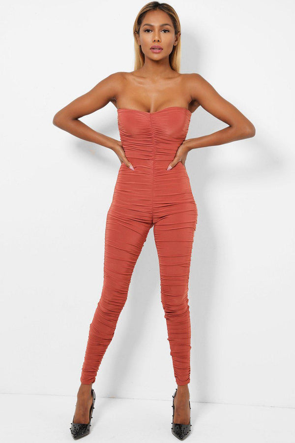 Ruched Skinny Rust Bandeau Jumpsuit-SinglePrice