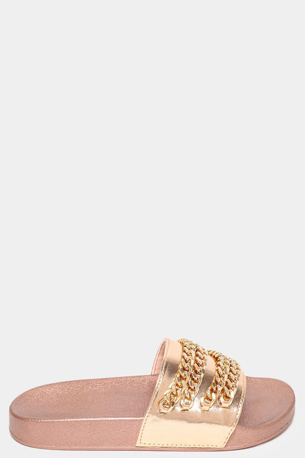 Rose Gold Chain Detailed Sliders-SinglePrice