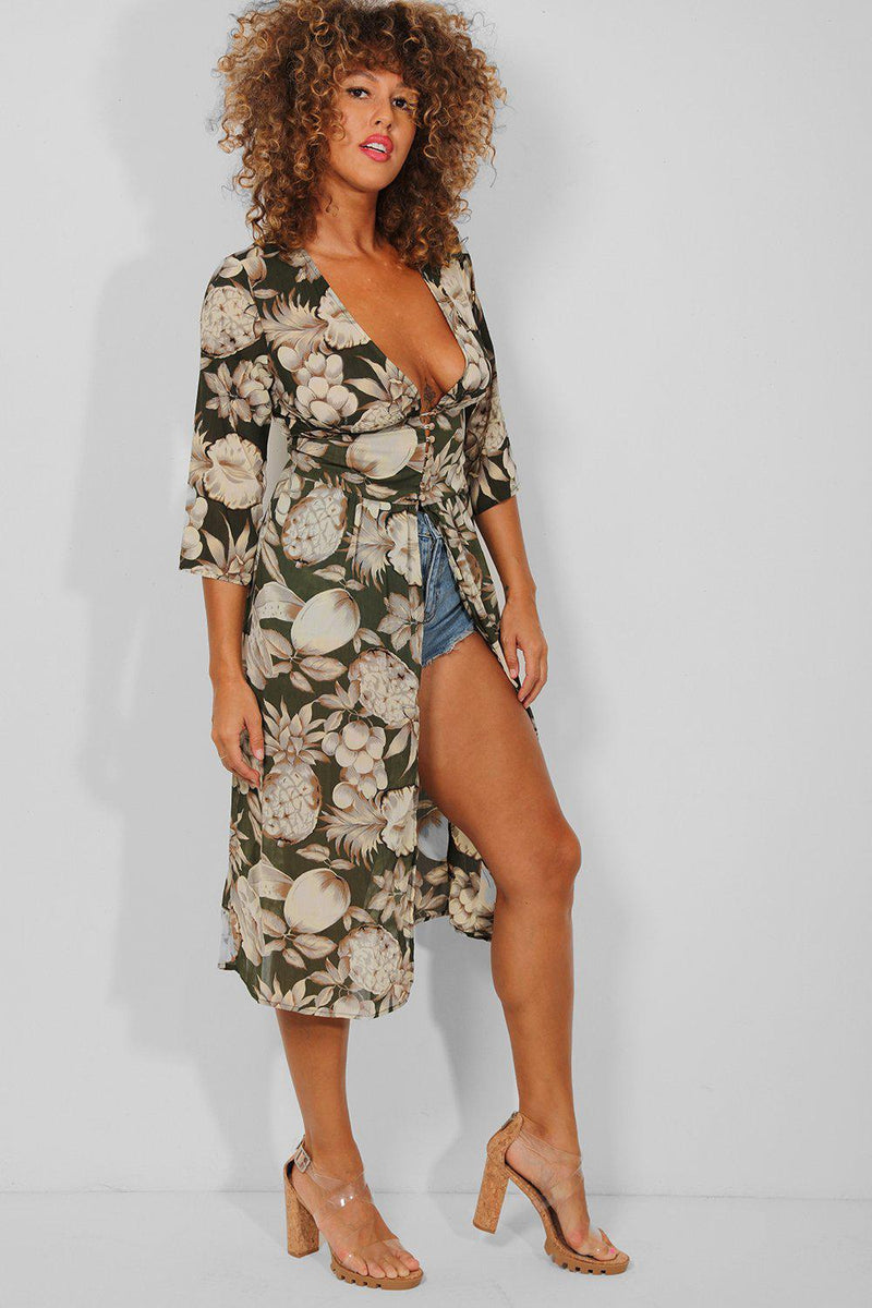 Green Tropical Print Open Front Kaftan Dress - SinglePrice
