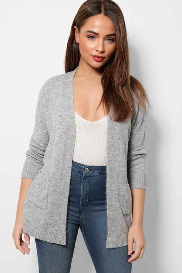 Open Pockets Front Grey Cardigan-SinglePrice