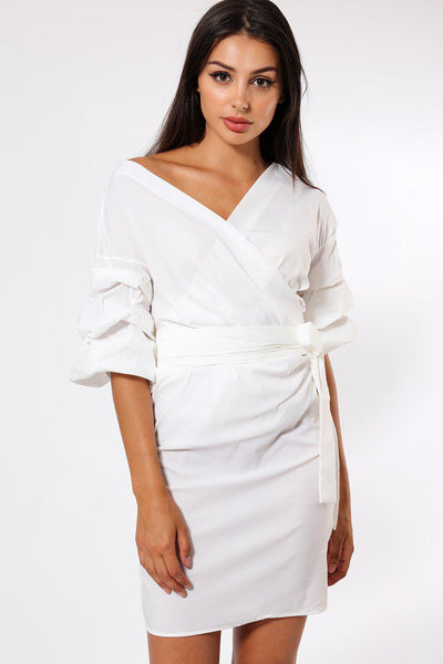 White Frill Sleeve Wrap Dress-SinglePrice