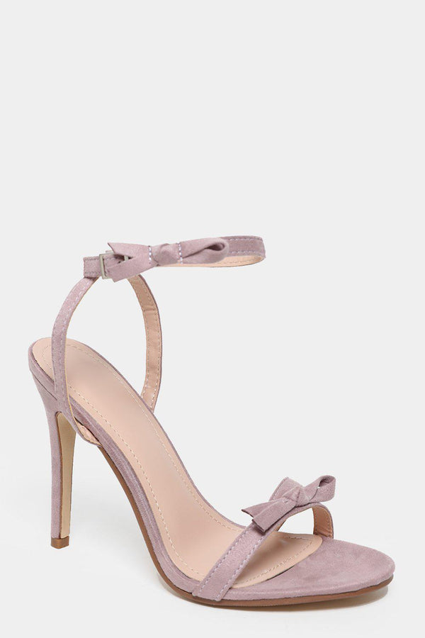 Bow Straps Light Purple Barely There Heels-SinglePrice