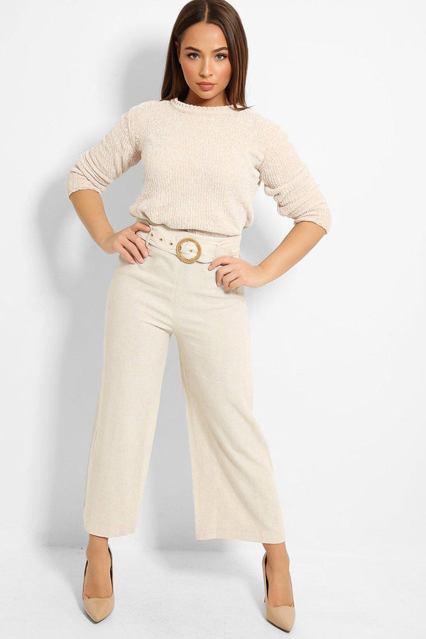 Light Beige High Waisted Linen Blend Trousers-SinglePrice