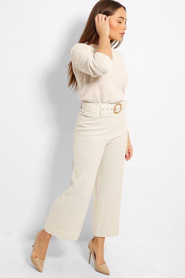 Light Beige High Waisted Linen Blend Trousers