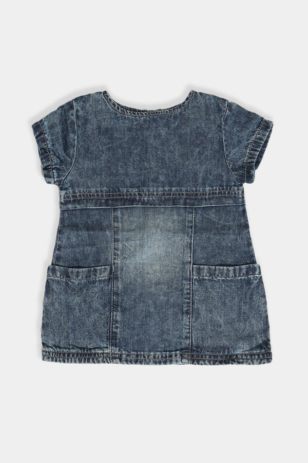 Blue Bleached Denim Baby Girl Panelled Dress - SinglePrice
