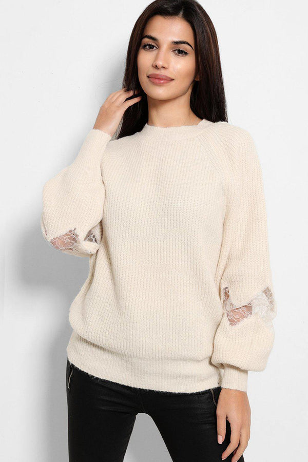 Beige Lace Panel Balloon Sleeves Soft Knit Pullover - SinglePrice