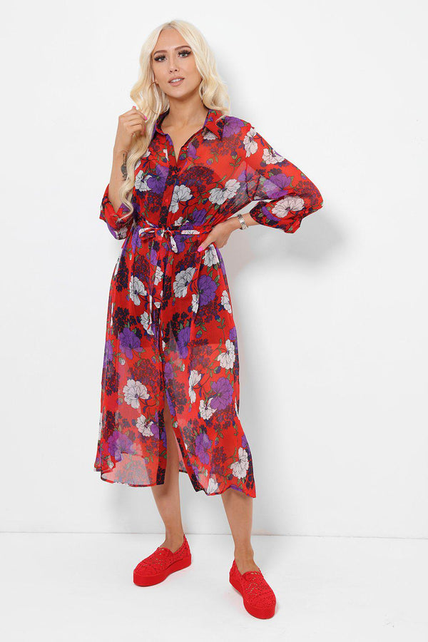 Red Floral Sheer Maxi Dress-SinglePrice
