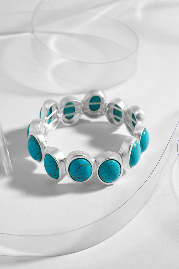 Silver Turquoise Fluctuating Beads Stretch Bracelet - SinglePrice