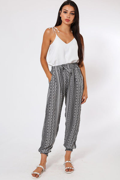 Vertical Geometric Print Stripes Black Leisure Trousers-SinglePrice