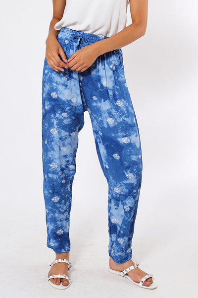 Blue Floral Cloudy Print Leisure Trousers-SinglePrice