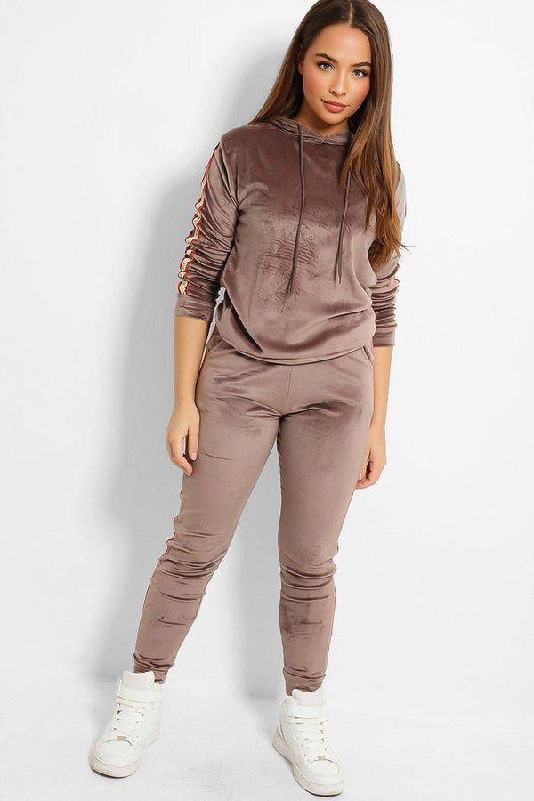Taupe Plush Velour Fashion Stripe Tracksuit-SinglePrice