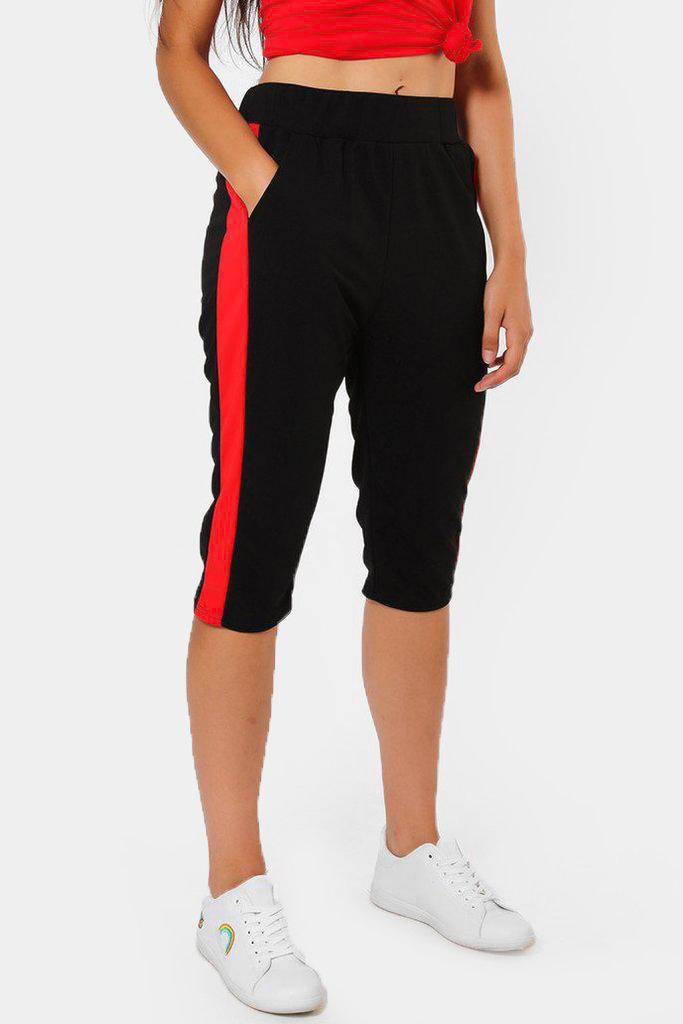 Red Stripe Black 3/4 Sports Trousers - SinglePrice