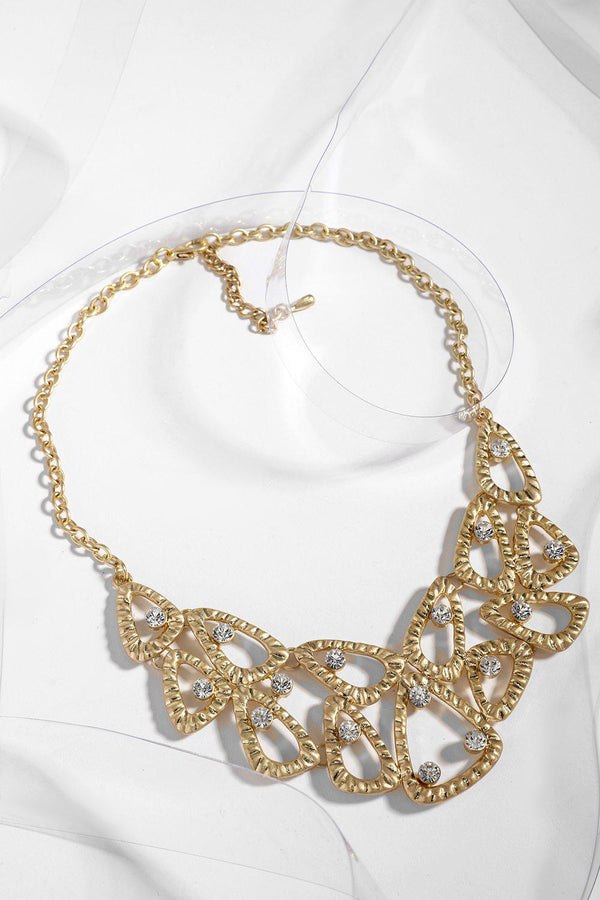 Gold Mixed Geometric Encrusted Necklace-SinglePrice