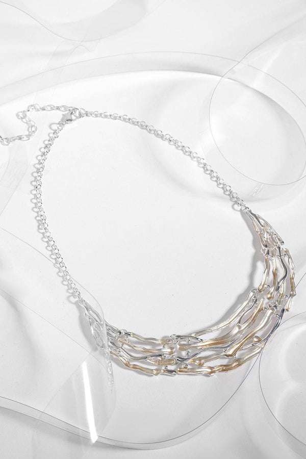 Gold And Silver Twigs Necklace-SinglePrice