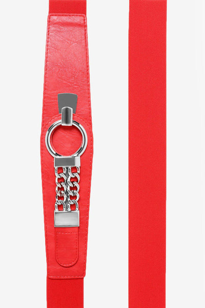 Red Elastic Belt Hook Buckle With Chain Details