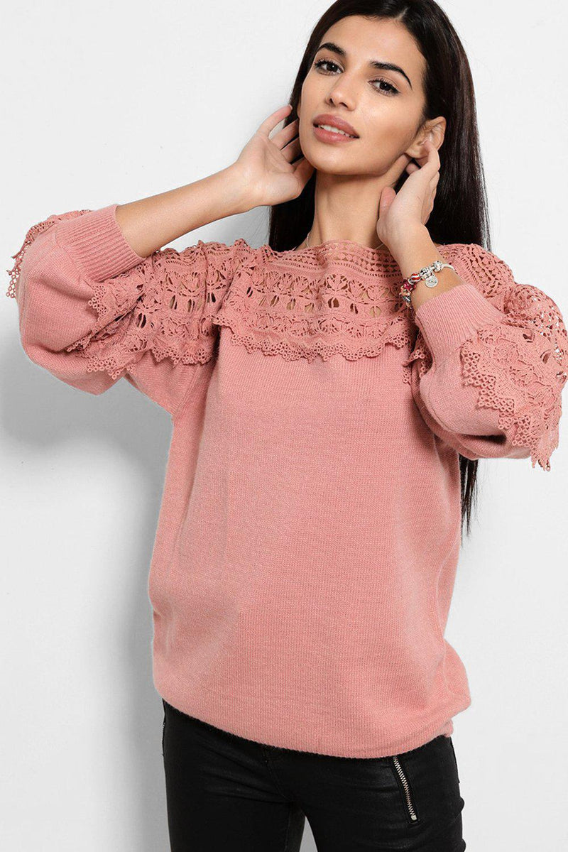 Pink Crochet Lace Panel Soft Knit Pullover - SinglePrice