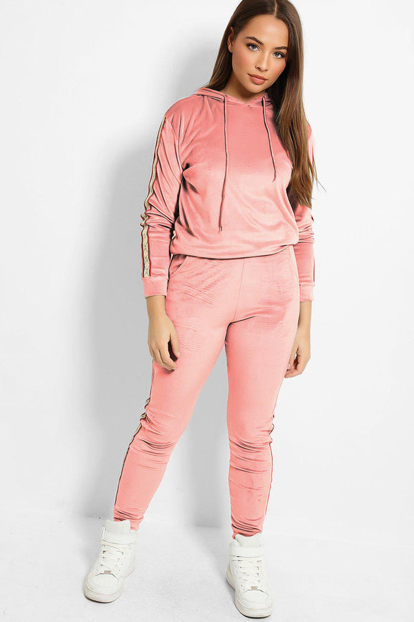 Pink Plush Velour Fashion Stripe Tracksuit - SinglePrice