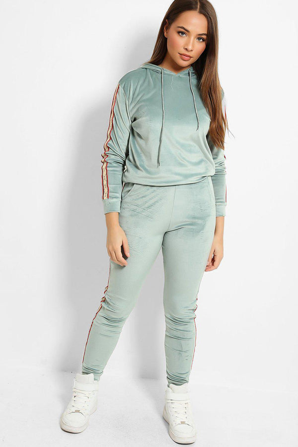 Aqua Plush Velour Fashion Stripe Tracksuit - SinglePrice