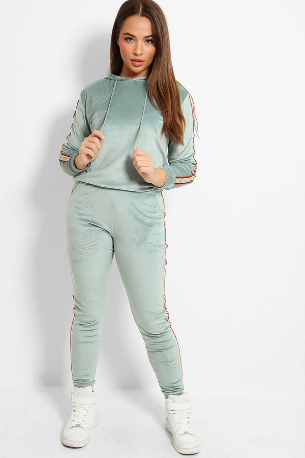 Aqua Plush Velour Fashion Stripe Tracksuit-SinglePrice