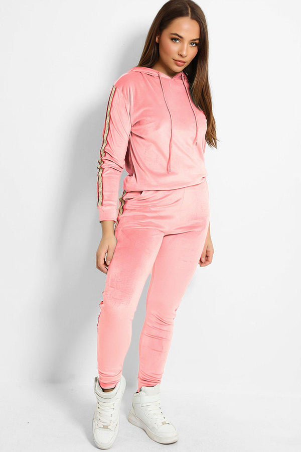 Pink Plush Velour Fashion Stripe Tracksuit-SinglePrice