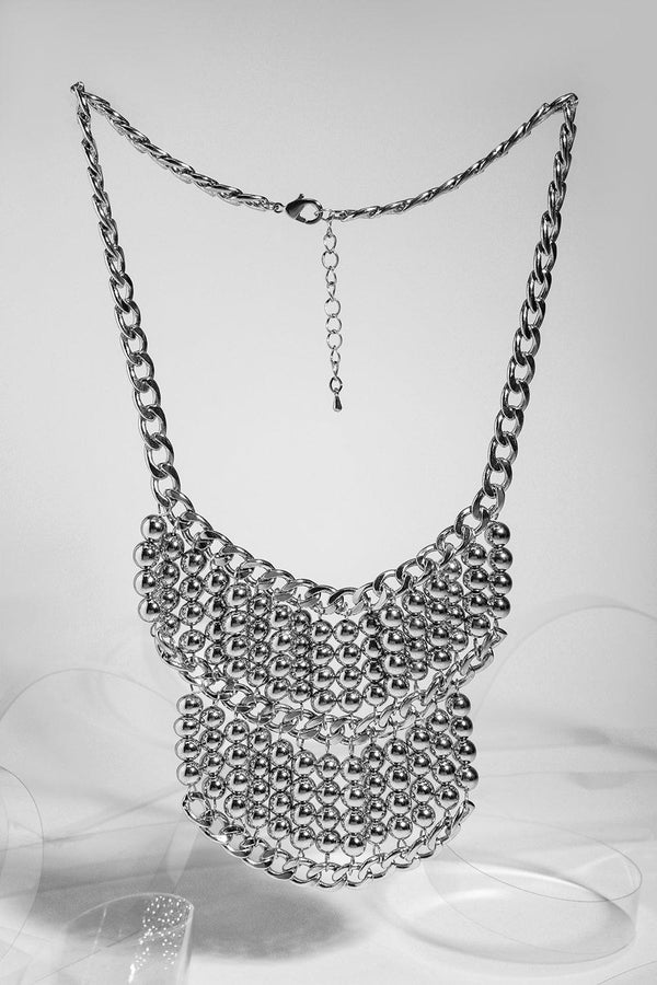 Silver Beads Boho Necklace-SinglePrice