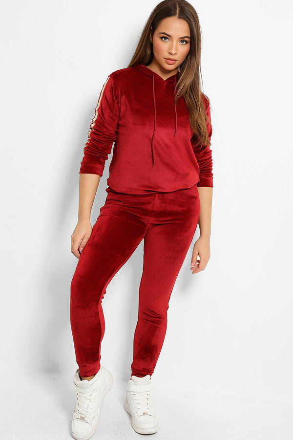 Burgundy Plush Velour Fashion Stripe Tracksuit-SinglePrice