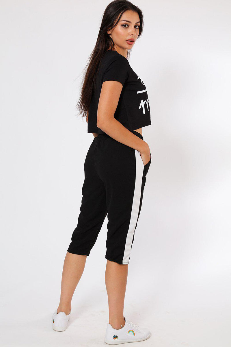 White Stripe Black 3/4 Sports Trousers - SinglePrice