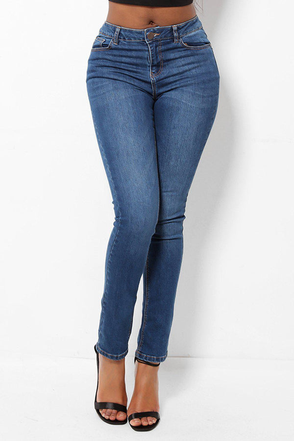 Creased Front Blue Jeans-SinglePrice