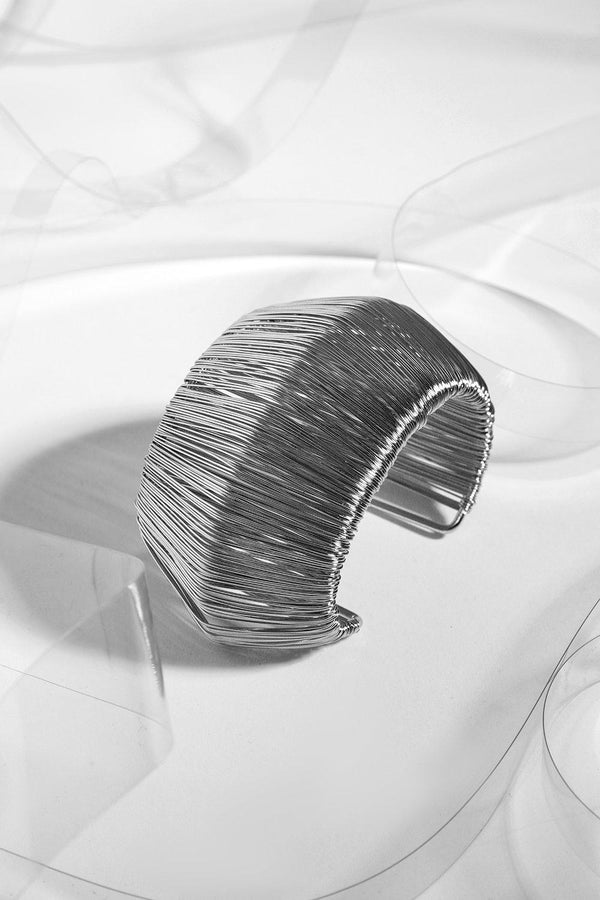 Silver Spun Wire Cuff Bangle-SinglePrice