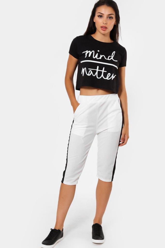 Contrast Stripe White 3/4 Sports Trousers - SinglePrice