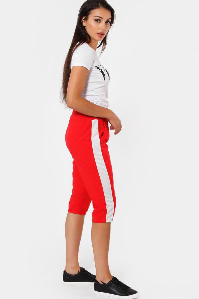 Contrast Stripe Red 3/4 Sports Trousers