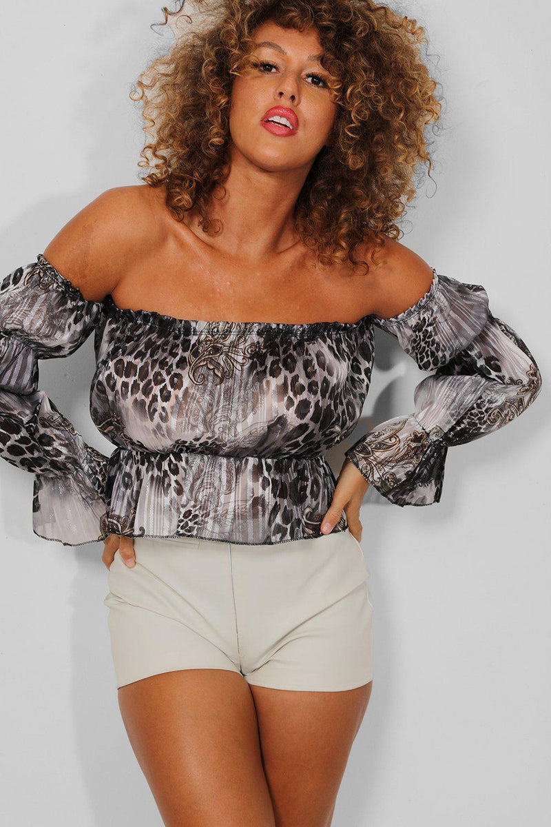 Grey Leopard Print Puff Sleeves Bardot Crop Top - SinglePrice