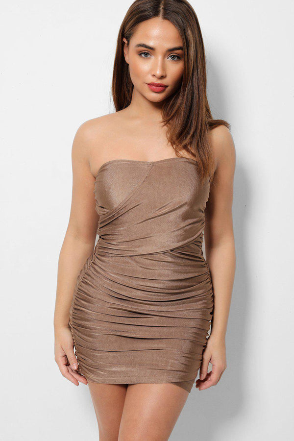 Mocha Ruching Detail Wrapover Bandeau Bodycon Mini Dress-SinglePrice