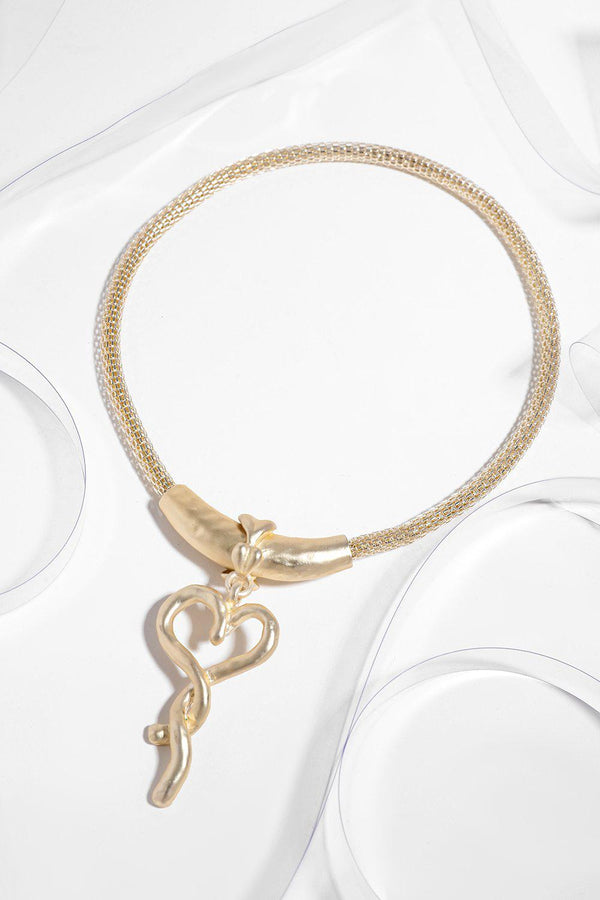 Gold Magnetic Twisted Heart Necklace - SinglePrice