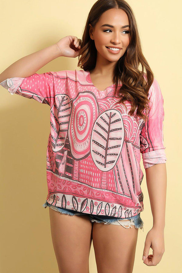 Hot Pink Animation Print Cotton Blend Top - SinglePrice