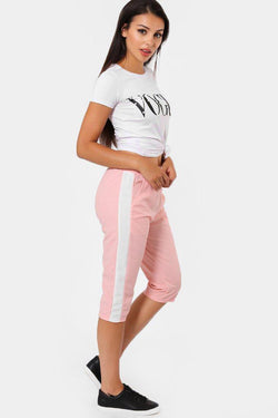 Contrast Stripe Pink 3/4 Sports Trousers - SinglePrice