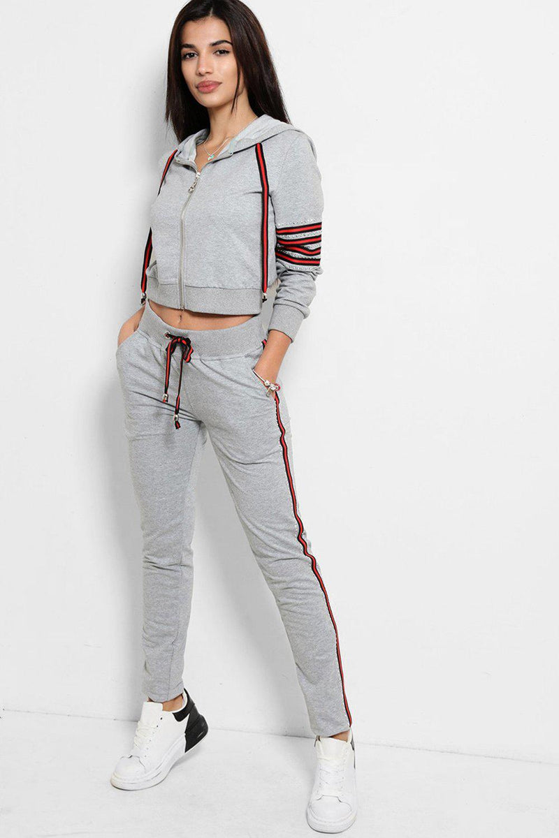 Grey Red Stripes Crystals Embellished Tracksuit - SinglePrice