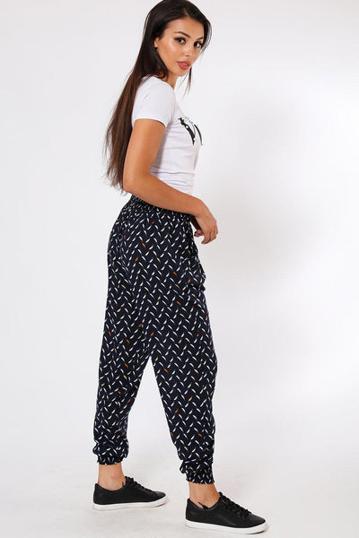 Small Feather Print Navy Leisure Trousers-SinglePrice
