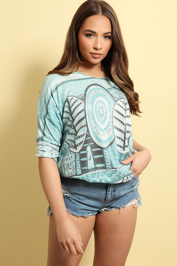 Aqua Animation Print Cotton Blend Top - SinglePrice