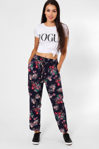 Floral Bouquets Print Navy Leisure Trousers-SinglePrice