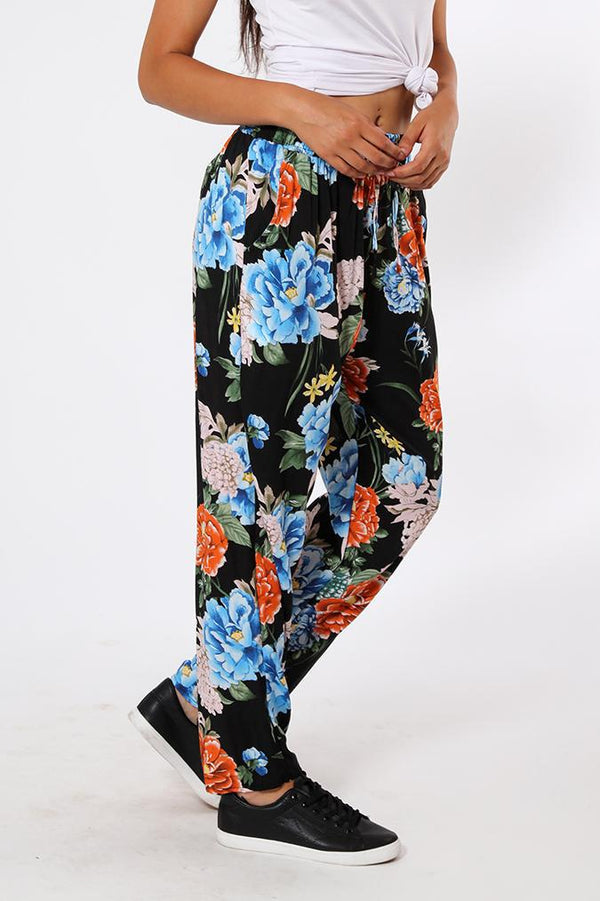 Large Peonies Print Black Leisure Trousers-SinglePrice