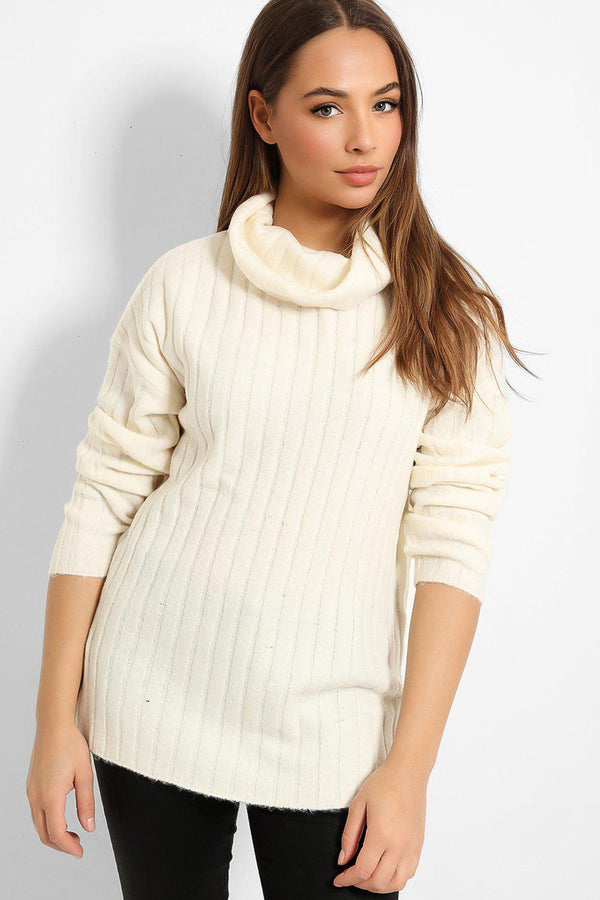 Cream Loose Turtleneck Large Rib Knit Pullover-SinglePrice