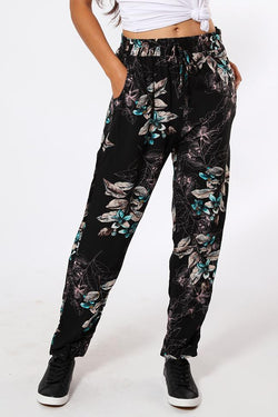 Turquoise Flowers Print Black Leisure Trousers-SinglePrice