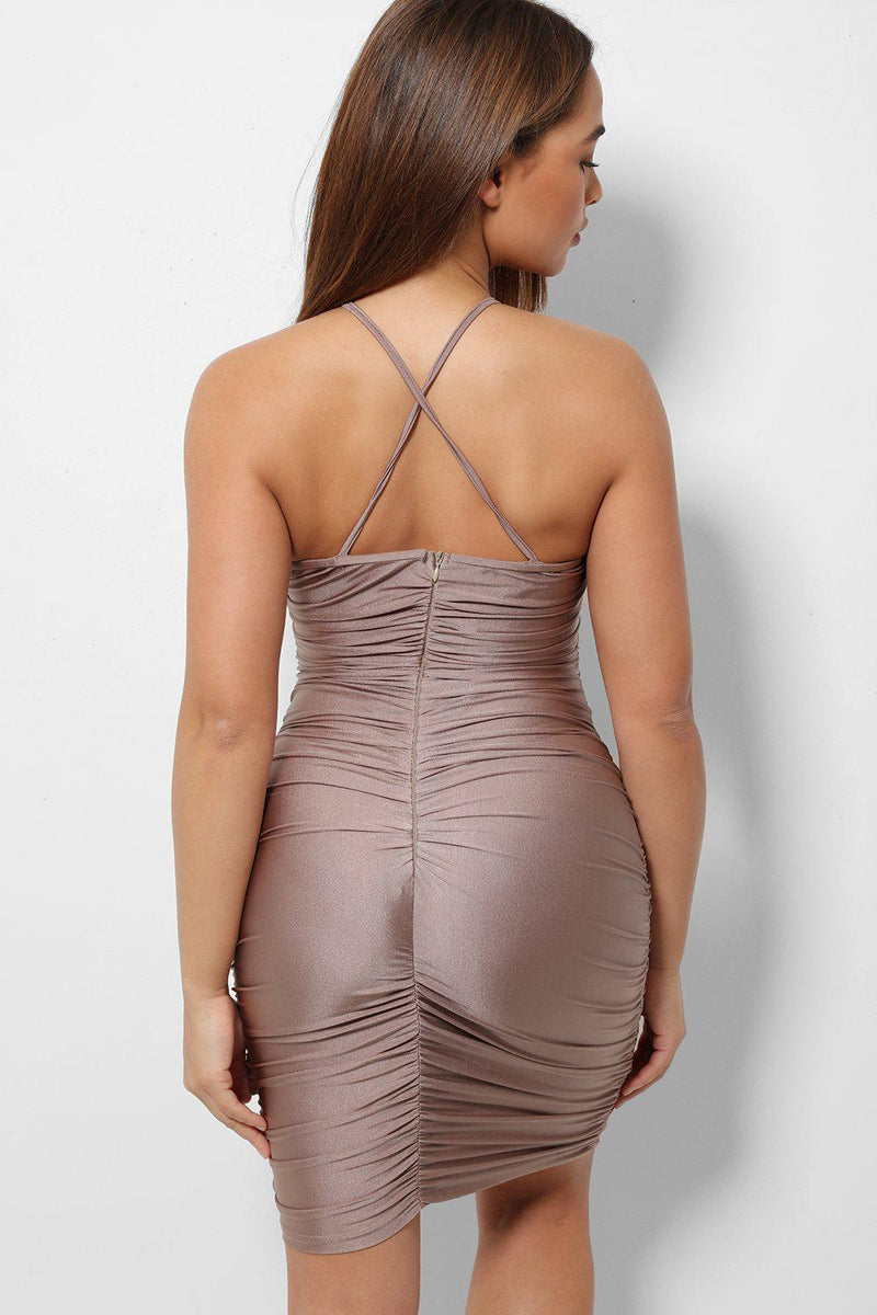 Bronze Ruching Detail Cut Out Front Cross Back Bodycon Mini Dress-SinglePrice